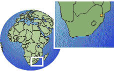 Swaziland as a marked location on the globe