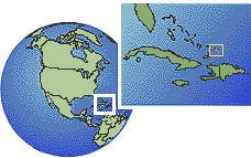 Turks and Caicos Islands time zone location map borders