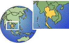 Bangkok, Thailand time zone location map borders