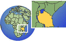 Tanzania, United Republic of time zone location map borders