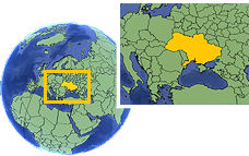 Odessa, Ukraine time zone location map borders
