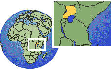 Uganda as a marked location on the globe