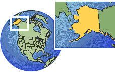 Alaska, United States as a marked location on the globe