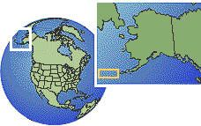 Alaska (Aleutian Islands), United States time zone location map borders
