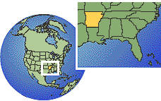 Arkansas, United States time zone location map borders