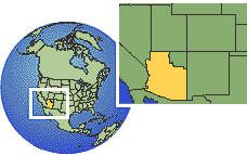 Arizona, United States  time zone location map borders