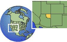 Arizona (Navajo Reservation), United States time zone location map borders