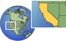California, United States as a marked location on the globe