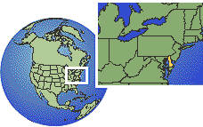 Delaware, United States as a marked location on the globe