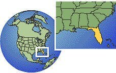 Miami, Florida, United States time zone location map borders