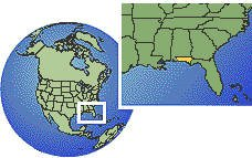 Pensacola, Florida (far west), United States time zone location map borders