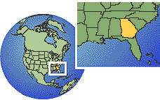 Savannah, Georgia, United States time zone location map borders