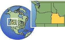 Idaho (southern), United States  time zone location map borders