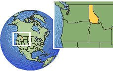 Coeur d'Alene, Idaho (northern), United States time zone location map borders