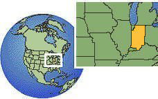 Indiana, United States  time zone location map borders
