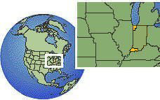 Evansville, Indiana (far west), United States time zone location map borders
