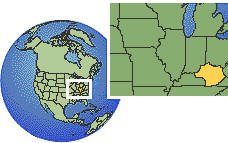 Louisville, Kentucky (eastern), United States time zone location map borders