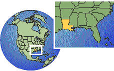 Louisiana, United States time zone location map borders