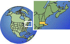Massachusetts, United States time zone location map borders