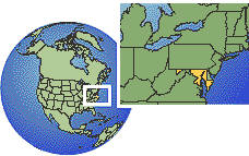 Baltimore, Maryland, United States time zone location map borders