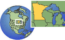 Minnesota, United States time zone location map borders