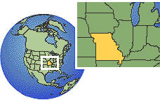 Missouri, United States as a marked location on the globe