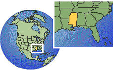Biloxi, Mississippi, United States time zone location map borders