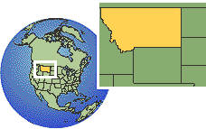 Montana, United States time zone location map borders