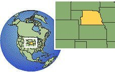 Nebraska, United States time zone location map borders