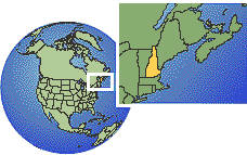 New Hampshire, United States time zone location map borders