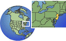 New Jersey, United States time zone location map borders