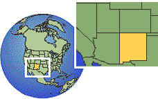 New Mexico, United States as a marked location on the globe