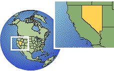 Nevada, United States time zone location map borders