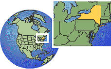 Buffalo, New York, United States time zone location map borders