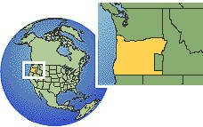 Oregon, United States time zone location map borders