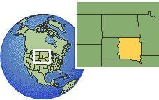 South Dakota (eastern), United States time zone location map borders