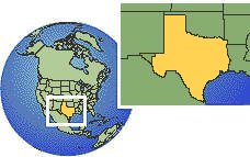 Dallas, Texas, United States time zone location map borders