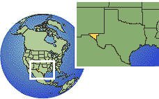 Texas (far west), United States time zone location map borders