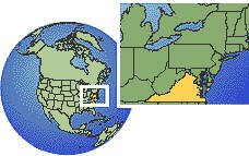 Virginia Beach, Virginia, United States time zone location map borders