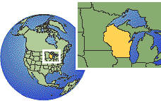 Wisconsin, United States time zone location map borders