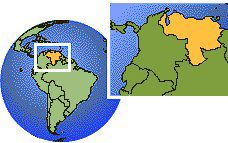 Maracaibo, Venezuela time zone location map borders