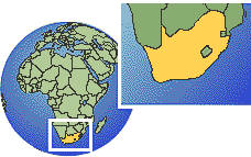 Johannesburg, South Africa time zone location map borders