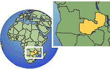 Lusaka, Zambia time zone location map borders