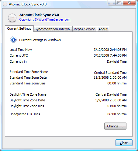 atomic clock sync current settings