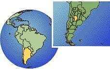 Córdoba, Argentina time zone location map borders