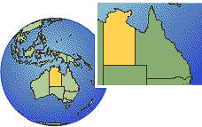 Northern Territory, Australia as a marked location on the globe