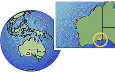 Western Australia (Exception), Australia time zone location map borders