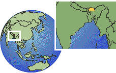 Bhutan time zone location map borders