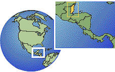 Belize as a marked location on the globe