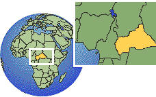 Central African Republic as a marked location on the globe